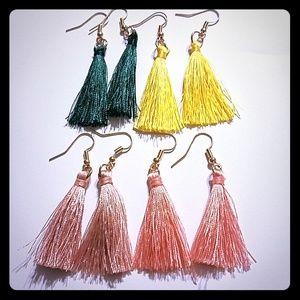 tassel earrings hook pink rose yellow green